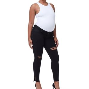 Black distressed Maternity Jeans